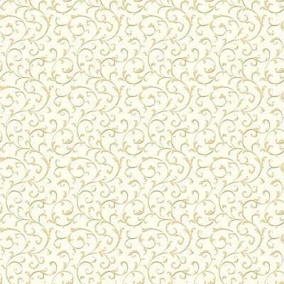 Inspired By Color™ Green Cottage Walk Scroll Wallpaper, White With Tan