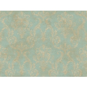 Inspired By Color™ Blue Delia Damask Raised Wallpaper, Light Blue With Bronze/Tan