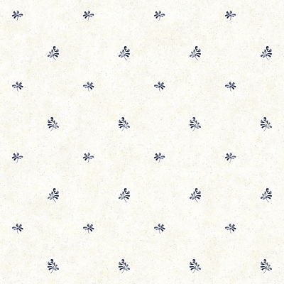 Inspired By Color™ Blue Pottery Geometric Wallpaper, Cream With Blue