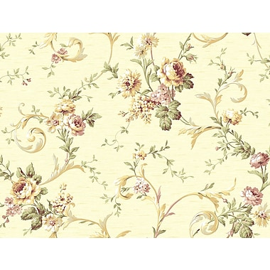 Inspired By Color™ Orange & Yellow Floral Scroll Trail Wallpaper, Cream With Off White