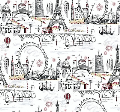 Inspired By Color™ Black & White Novelty Euro Scenic Wallpaper, White With Black/Red