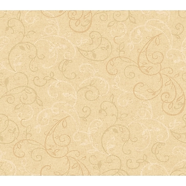 Inspired By Color™ Orange & Yellow Graphic Scroll Leaf Wallpaper, Tan With Dark Brown