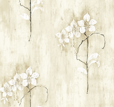 Inspired By Color™ Black & White Orchid Wallpaper, Gray With Green/Tan/White/Black