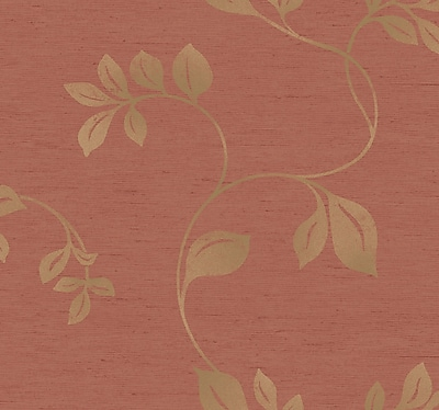 Inspired By Color™ Orange & Yellow Burlap Metallic Leaves Wallpaper, Coral With Gold