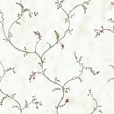 Inspired By Color™ Country & Lodge Small Vine With Berries Wallpaper, White With Off White