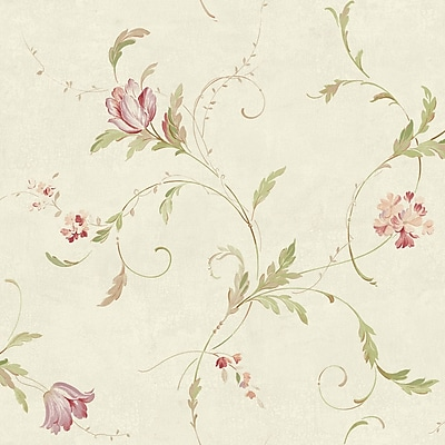 Inspired By Color™ Orange & Yellow Delicate Tulip Spray Wallpaper, Cream With Pearl
