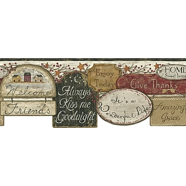 Inspired By Color™ Country & Lodge It'S A Wonderful Life Border, Cream With Black/Dark Red