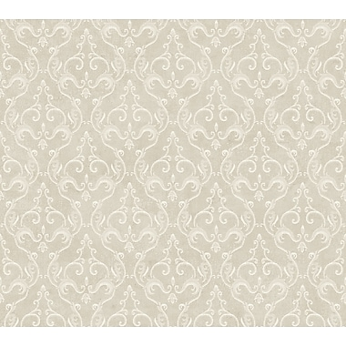 Inspired By Color™ Metallics Belgian Damask Wallpaper, Metallic Platinum With White