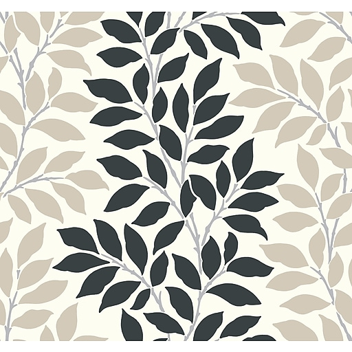 Inspired By Color™ Black & White Leaf/Branch Stripe Wallpaper, White With Black
