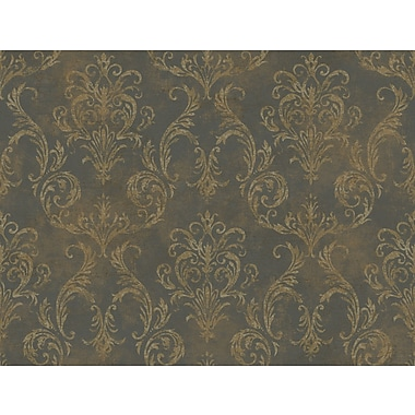 Inspired By Color™ Metallics Hibiscus Floral Wallpaper, Dark Gray With Bronze/Tan