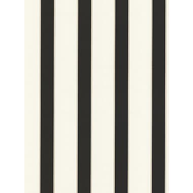 Inspired By Color™ Black & White Wide Pinstripe Wallpaper, Black With White/Beige