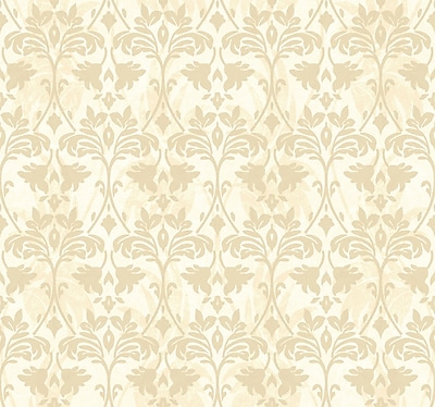 Inspired By Color™ Beige Drybrush Damask Wallpaper, Tan With Beige/Silver Glitter