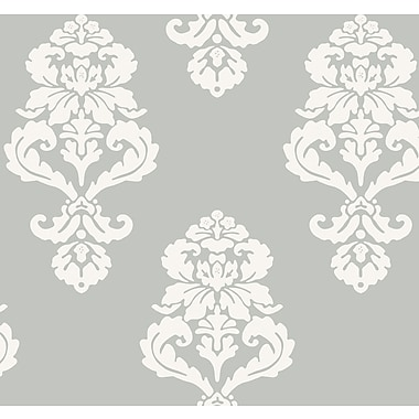 Inspired By Color™ Metallics Graphic Damask Wallpaper, Silver Metallic With White