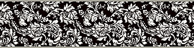 Inspired by Color™ Black & White Damask Border, Black With White/Metallic Silver