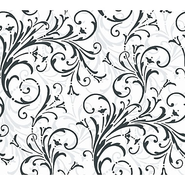 Inspired By Color™ Black & White Layered Scrol Wallpaper, White With Off White