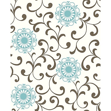 Inspired By Color™ Blue Medallion With Scroll Wallpaper, Cream With Blue/Brown