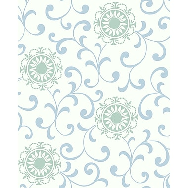 Inspired By Color™ Blue Medallion With Scroll Wallpaper, White With Blue/Green
