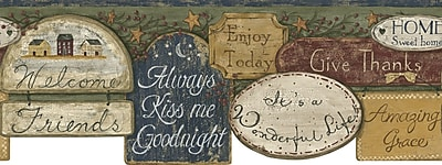 Inspired By Color™ Borders It's A Wonderful Life Border, Off White With Burgundy/Green