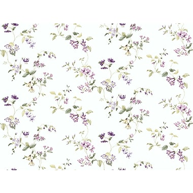 Inspired By Color™ Pink & Purple Wild Flower Trail Wallpaper, Purple With Green