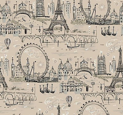 Inspired By Color™ Beige Novelty Euro Scenic Wallpaper, Tan With Black/Silver