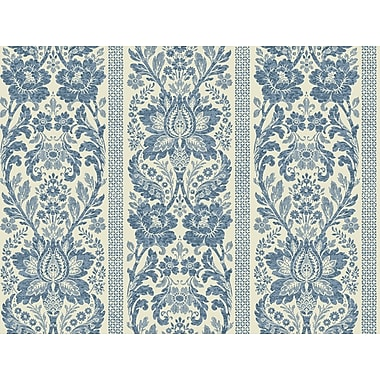 Inspired By Color™ Blue Floral Damask Stripe Wallpaper, French Blue With White