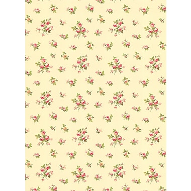 Inspired By Color™ Pink & Purple Mini Rose Toss Wallpaper, Cream With Pink
