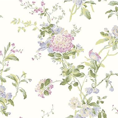 Inspired By Color™ Pink & Purple Flower Vine Wallpaper, White With Off Whites