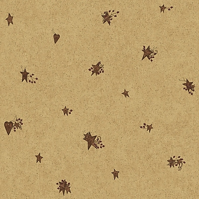 Inspired By Color™ Country & Lodge Tin Star and Heart Wallpaper, Brown With Red/Tan