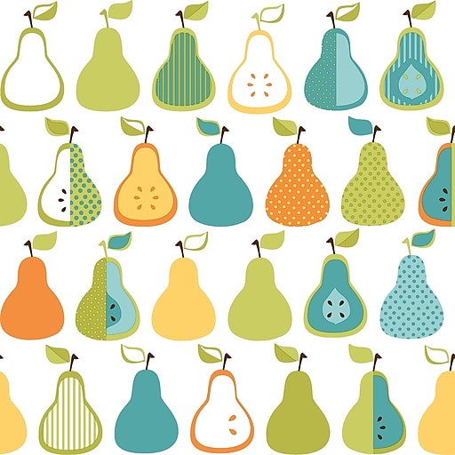 Inspired by Color™ Blue Kitchen Pears Wallpaper, Teal Blue With Green/Yellow