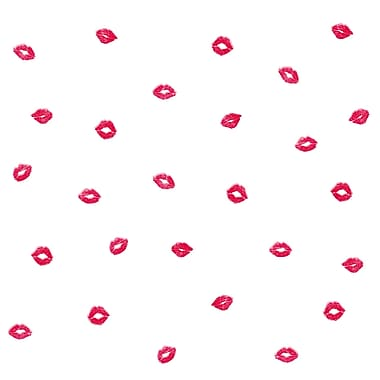 Inspired By Color™ Red Smooches Wallpaper, Pink With Red/Gold Glitter/White