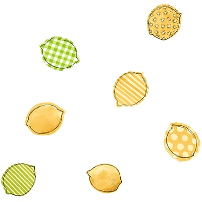 Inspired by Color™ Yellow & Orange Lemons Wallpaper, White With Yellow/Green
