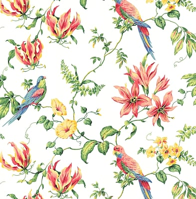 Inspired By Color™ Green Birds Wallpaper, White With Green/Red/Blue/Yellow