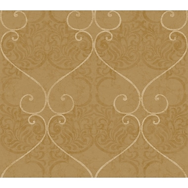 Inspired By Color™ Metallics Marceilles Wallpaper, Dark Brown With White Tan