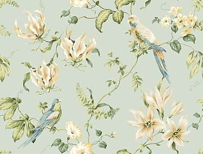 Inspired By Color™ Blue Tropical Floral Wallpaper, Light Blue