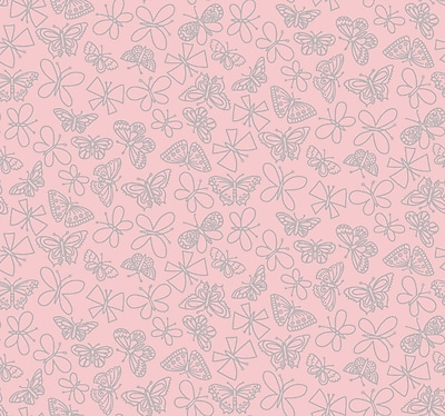 Inspired By Color™ Pink & Purple Glitter Butterfly Wallpaper, Light Pink