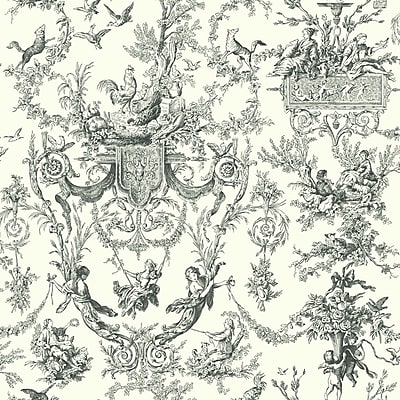 Inspired By Color™ Black & White Old World Toile Wallpaper, Black With White