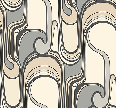 Inspired By Color™ Beige Curves Ahead Wallpaper, Black With Gray/Tan/White