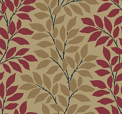 Inspired By Color™ Red Leaf/Branch Stripe Wallpaper, Gold Metallic With Red