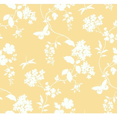 Inspired By Color™ Orange & Yellow Scenic Vines Wallpaper, Yellow With White