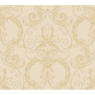 Inspired By Color™ Metallics Ashland Wallpaper, Tan With Deep Gold Metallic