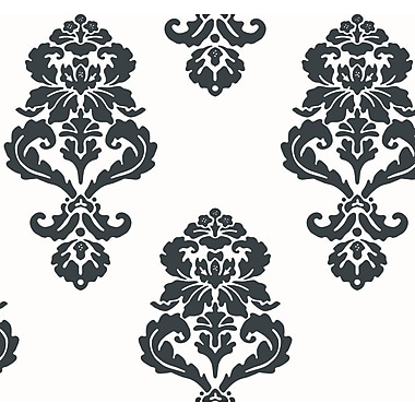 Inspired By Color™ Black & White Graphic Damask Wallpaper, White With Black