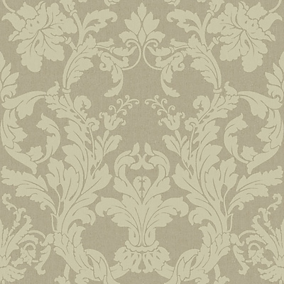 Inspired By Color™ Beige Acanthus Damask Wallpaper, White With Dark Silver
