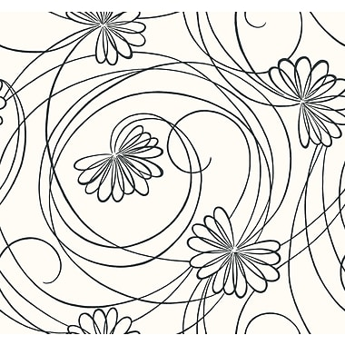 Inspired By Color™ Black & White Script Floral Wallpaper, White With Black