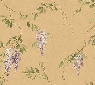 Inspired By Color™ Metallics Wisteria Wallpaper, Metallic Gold With Purple