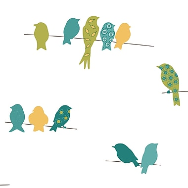 Inspired by Color™ Blue Bird On A Wire Sidewall Wallpaper, Blue With Yellow/Green