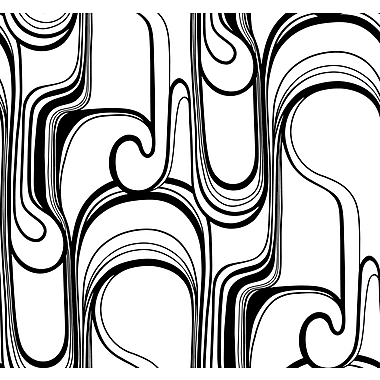 Inspired By Color™ Black & White Curves Ahead Wallpaper, Black With White