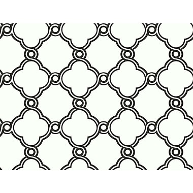 Inspired By Color™ Black & White Open Trellis Wallpaper, Black With White