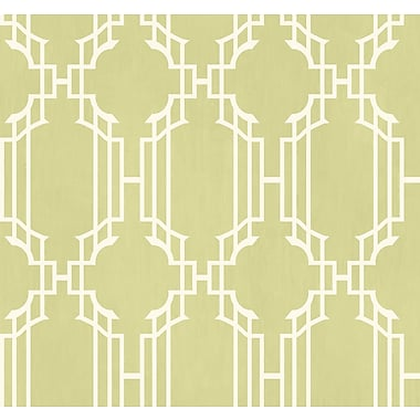 Inspired By Color™ Green Trellis W/Strie Wallpaper, Green With White