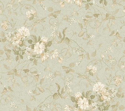 Inspired By Color™ Green Floral Branch Wallpaper, Green With Tan/Yellow