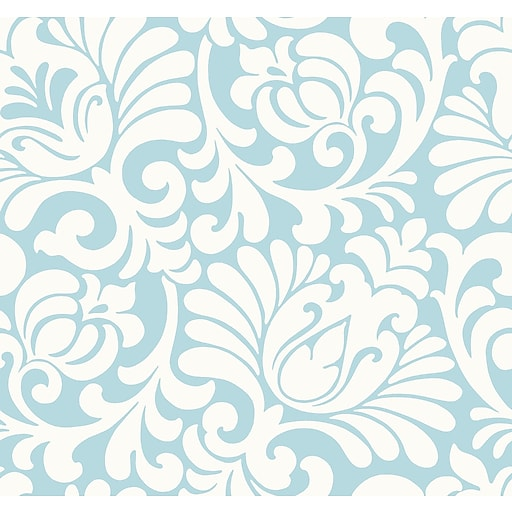 Inspired By Color™ Blue Tulip Damask Wallpaper, Metallic Teal With Cream